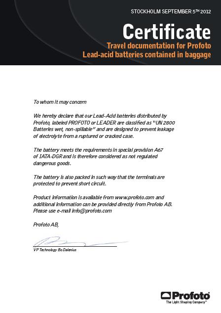 Certificación oficial de viaje con las especificaciones de la batería.